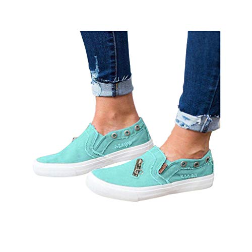 Dressin Womens Canvas Shoes Fashion Flat Sports Running Shoes Summer Zipper Beach Shoes Casual Travel Shoes Blue
