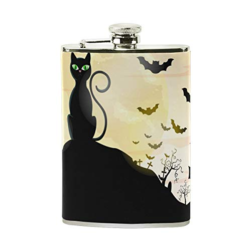 FFR EGM HAQSK CUFD Drinking Vessel Happy Halloween Cats And Bats Stainless Steel l Hip Flask,Pocket Flagon,Eco-Friendly Art,Indoor/Outdoor Wine Jar Decor]()