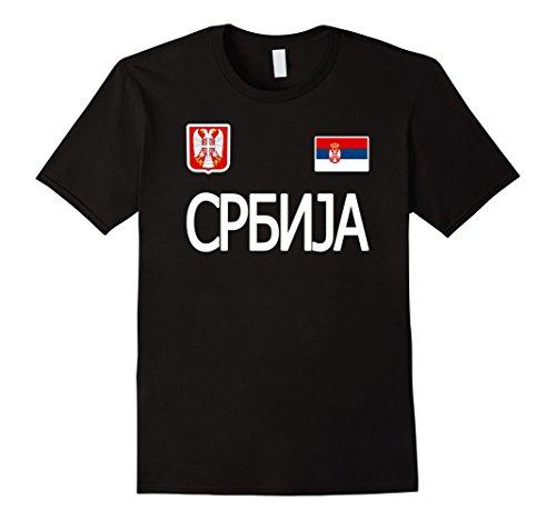 Mens Serbia t-shirt Serbian Soccer Jersey Style . Large Black