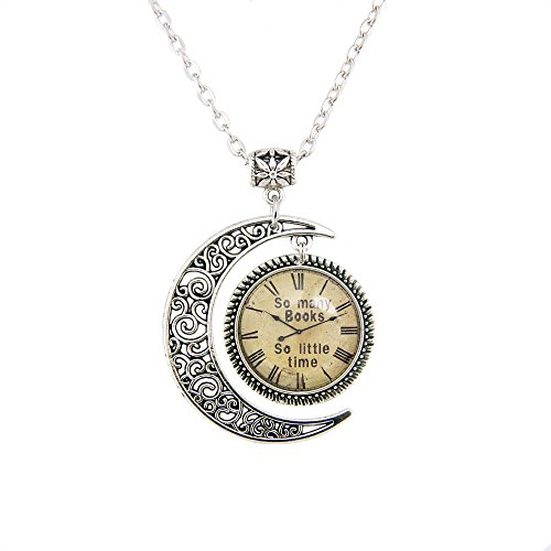 LERYDESI Moon pendant So many books So little time watch necklace Old Clock picture jewelry necklace