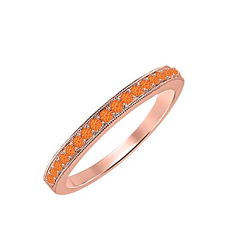 0.35 Ctw Round Cut Orange Sapphire 14k Rose Gold Over .925 Sterling Silver Anniversary Wedding Band Ring for Women's