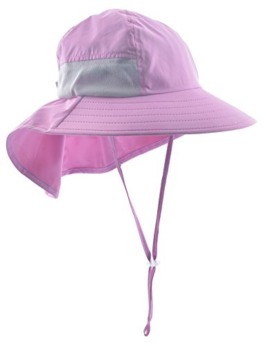 Lenikis Kids Outdoor Activities UV Protecting Sun Hats with Neck Flap Pink by Lenikis (Image #1)