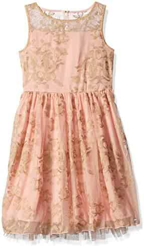 Speechless Big Girls' Gold Floral Mesh Lace Dress