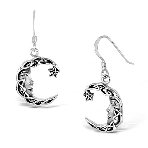 - WithLoveSilver 925 Sterling Silver Charm Celtic Star Crescent Moon Dangle Hook Earrings