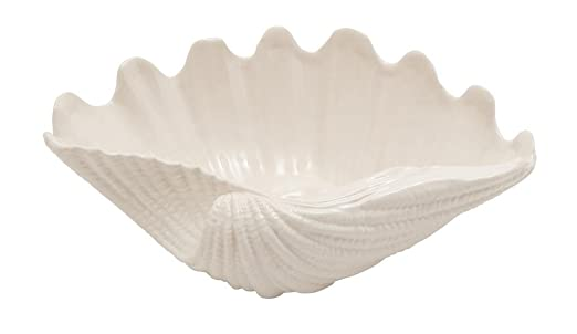 Christmas Tablescape Decor - Large white ceramic clamshell serving bowl