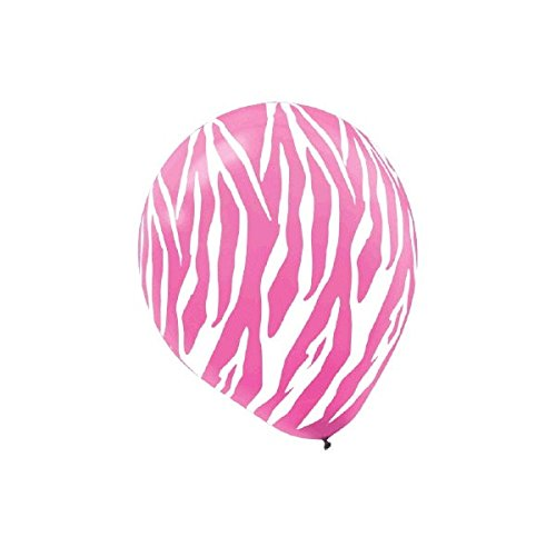 Zebra Pink & White Stripes Latex Balloons | Pack of 6 | Party Decor -