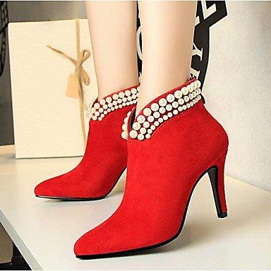 Heart&M Damen Schuhe Nubukleder Herbst Winter Komfort Pumps Stiefel Blockabsatz Runde Zehe Mit Schleife Für Kleid Schwarz Rot red