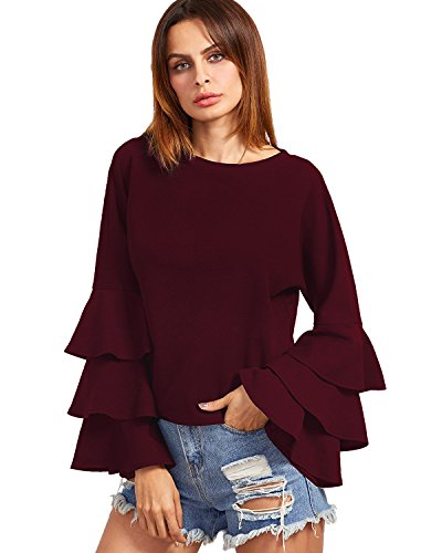 ZANZEA Women's Layered Ruffle Bell Long Sleeve Round Neck Vintage Loose Tops Blouse Wine Red US (Maroon Burgundy)