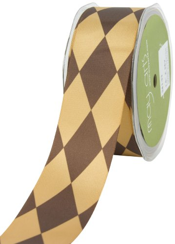 May Arts 1-1/2-Inch Wide Ribbon, Brown Satin Diamond Print -