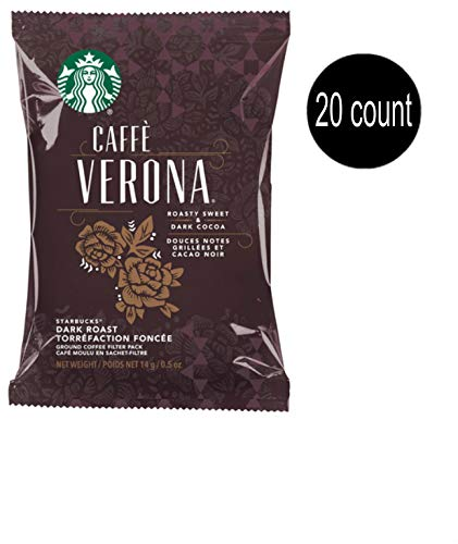 (Cafe Valet Starbucks Caffe Verona Regular One-Cup Coffee Filter Packs with Disposable Brew Basket for use Single-Serve Brewers, 20, CT)