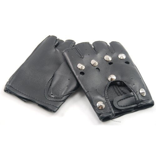 WMA Studded Leather Faux Fingerless Gloves Goth Biker Punk Driving Cycling