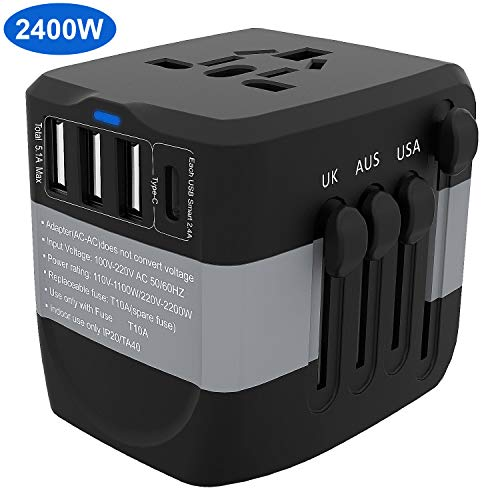 Universal Travel Adapter, 2400W International High Power Adapter with 1 Smart Type-C & 3 USB Ports,KeShi Worldwide All in One Power Plug Adapter for UK, EU, AU, US, Over 200 Countries (Best Smart Plug Uk)