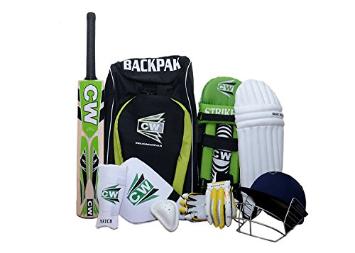 CWBrand New Junior Sports Cricket kit Green Size No.5 With Kashmir Willow League 20-20 Ideal For 9-10 Year child Short Handle Cricket bat,Helmet, Batting Leg Guard,Arm Guard by C&W