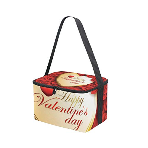 Day Valentines Strap Cooler Picnic Lunch Bag Lunchbox Roses Shoulder Love Heart Happy for HtnFExaq