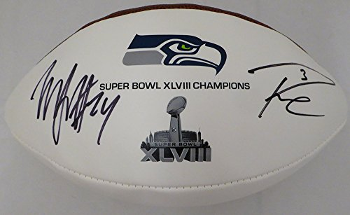 Football Autographed Marshawn Lynch - Russell Wilson & Marshawn Lynch Autographed Super Bowl XLVIII Champions Logo Football Seattle Seahawks RW & ML Holo