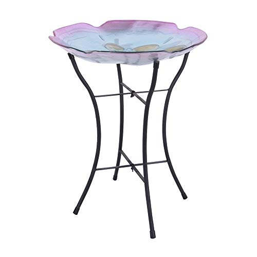 (Peaktop 3211411 Garden Handpainted Floral Fusion Glass Birdbath with Metal Stand, 21.2