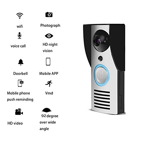 QLPP WiFi Video Timbre de Voz Intercom Impermeable 92 Grado Sobre Gran Angular HD cámara de Seguridad para el hogar con...