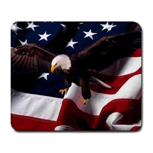 American Flag and Bald Eagle Mouse Mat Pad Mousepad ()