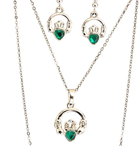 "Silver Plated Pendant And Earring Set In Claddagh Design with Green Stone (18"" Chain)"