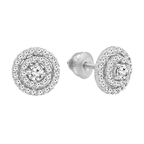 0.41 Carat (ctw) Round White Diamond Ladies Flower Cluster Stud Earrings, 10K White Gold (Diamond Flower Earrings)