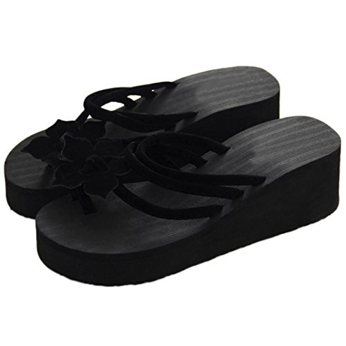 Ankle Strap Lined Platform - Aurorax Women's Girls Wedge Sandals, [Spring Summer Leisure Flower Non-Slip Platform High Heels Slippers] Bohemia Shoes Caserta Sandals For Beach Party (Black, 39/US:8.5)