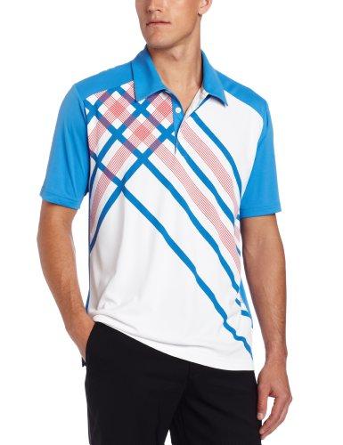 adidas Golf Men's Climacool Diagonal Plaid Polo, Oasis-Tmag/White, Medium