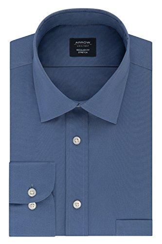 Arrow Men's Dress Shirt Regular Fit Stretch Poplin Solid, Denim, 16
