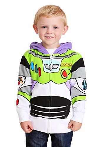 Disney Little Boys' Toddler Buzz Lightyear Hoody Toddler, White, 3T