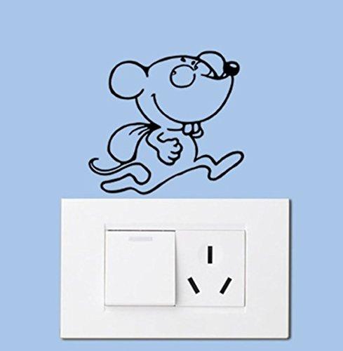 1 Set Funny Black Cat Dog Rat Mouse Animals Light Switch Decal Wall Stickers Living Room Bedroom Defectless Popular Dream World Moon Star Ocean Sun Flower Vinyl Window Mural Art Decor, Type-11