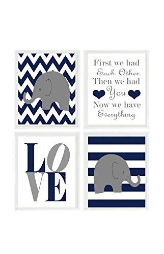 Baby Boy Nursery, Elephant Nursery Wall Art, Navy Gray Decor, Chevron, Stripes, First We Had Each Other, Love Print, Baby Boy Gift, Prints