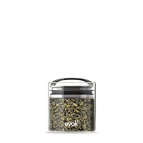Best PREMIUM Airtight Storage Container for Coffee Beans, Tea and Dry Goods - EVAK - Innovation that Works by Prepara, Glass and Stainless, Compact Dark Chrome Handle, Small - Cool Containers