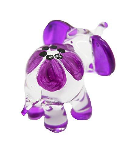 Hand Blown Art Glass,Purple Elephant Miniature Animals Collection, Dollhouse Miniatures, by Audomna -