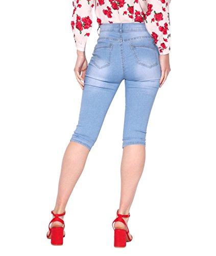 Chic Taille Haute KRISP Femme 2439 Pantalon Bleu w6qEI0