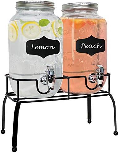 Estilo Lot de 2 distributeurs de boissons Mason Jar sur support en métal avec étiquettes et craie avec couvercles et becs antifuites1 gallon