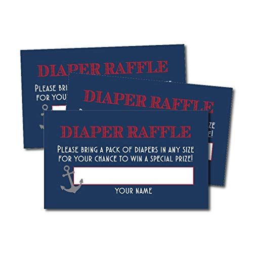 25 Ahoy It's a Boy Diaper Raffle Ticket Lottery Insert Cards for Baby Shower Invitations, Nautical Navy Red Supplies and Games for Gender Party, Bring a Pack of Diapers to Win Favor, Gift and Prizes ()