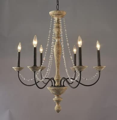 Jane French Country Rustic Crystal 6 Light Wood Chandelier