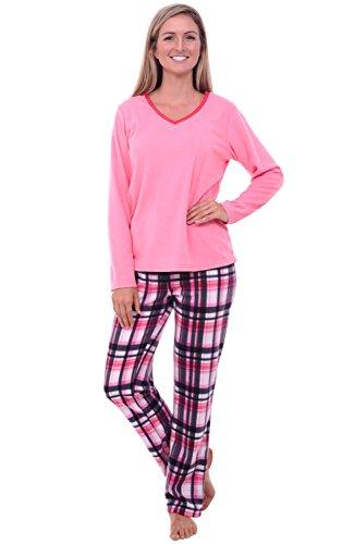 - Alexander Del Rossa Women's Warm Fleece Pajamas, Long V Neck Pj Set, XS Pink and White Plaid (A0325Q20XS)