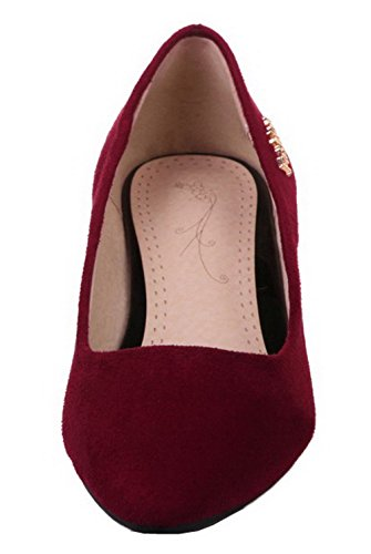 Solid Claret Womens Heels Closed Frosted AllhqFashion Shoes Pumps Low Toe wfd1qqgCp