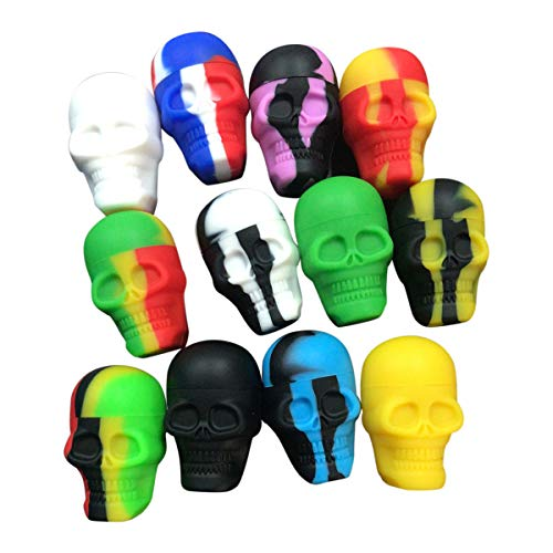 Gentcy 6pcs Skull Silicone Container Wax Silicone Jar