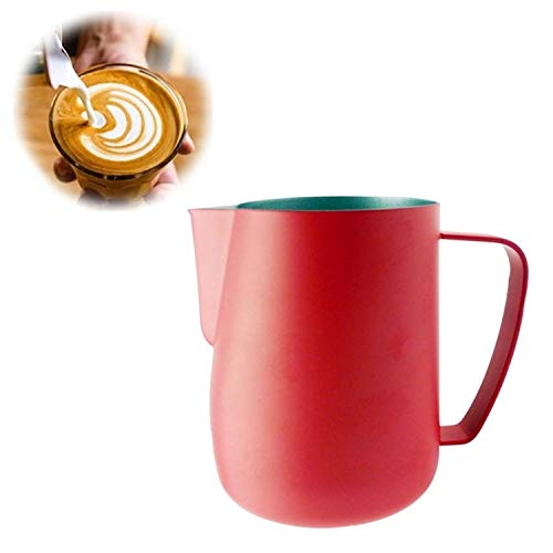 Milk Jug 0.3-0.6L Stainless Steel Frothing Pitcher Pull Flower Cup Coffee Milk Frother Latte Art Milk Foam Tool Coffeware, Capacity:350ml Premium Material (Color : Red) by SHIFENX