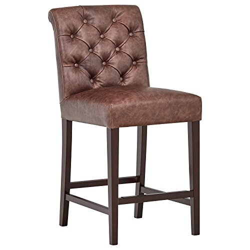 Stone & Beam Carson Leather Tufted Counter Stool, 41'' H, Brown by Stone & Beam