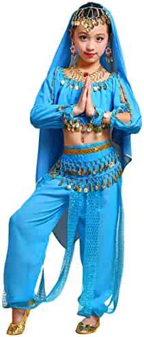 c53cb9f42ca8 LOLANTA 8PCS Girls Belly Dance Costume Chiffon Indian Halloween Performance  Outfits