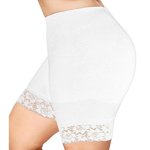 (vermers Womens Plus Size Shorts, Mid Waist Lace Hot Pants Elastic Sports Trousers Trunks(4XL, White) )