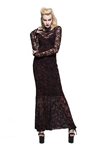 Devil Fashion - Vestido - trapecio - Manga Larga - para mujer Rosso