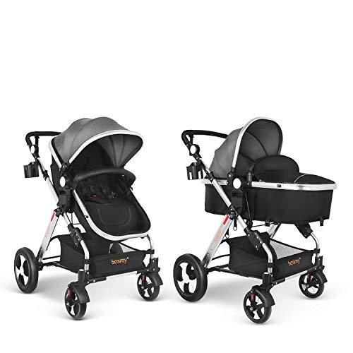 besrey Silla de Paseo Cochecito de Bebé Reversible Carrito Ruedas Grande -Gris Aprobado prueba de seguridad EN1888: 2012: Amazon.es: Bebé