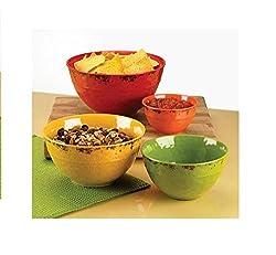 Melamine Bowl Set with Rustic Finish -4 Piece