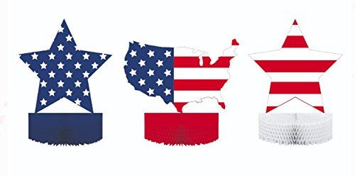 Patriotic Flag Print Honeycomb Centerpiece USA & Red,