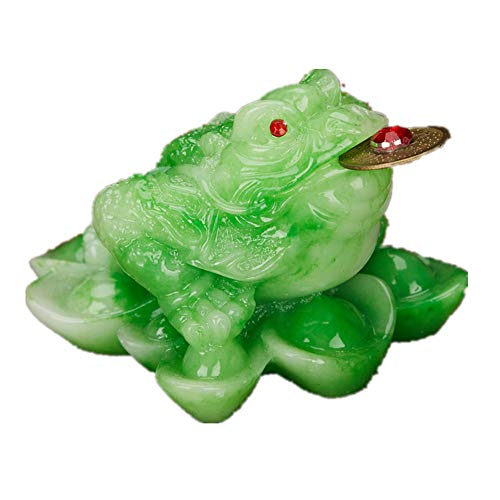 Feng Shui Resin Money Frog (Three Legged Toad/Wealth Frog) Figure Home Office Decoration(Jade, L)
