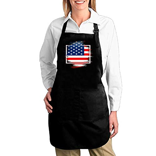 doormatscool Unisex American Flag Apron for Women and Men Cotton Twill Durable Comfortable Bib Chef Kitchen Aprons -