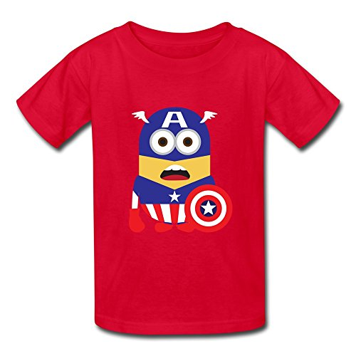 O-Neck Captain America Minions Geek Children Boys And Girls T-Shirt Red Size L